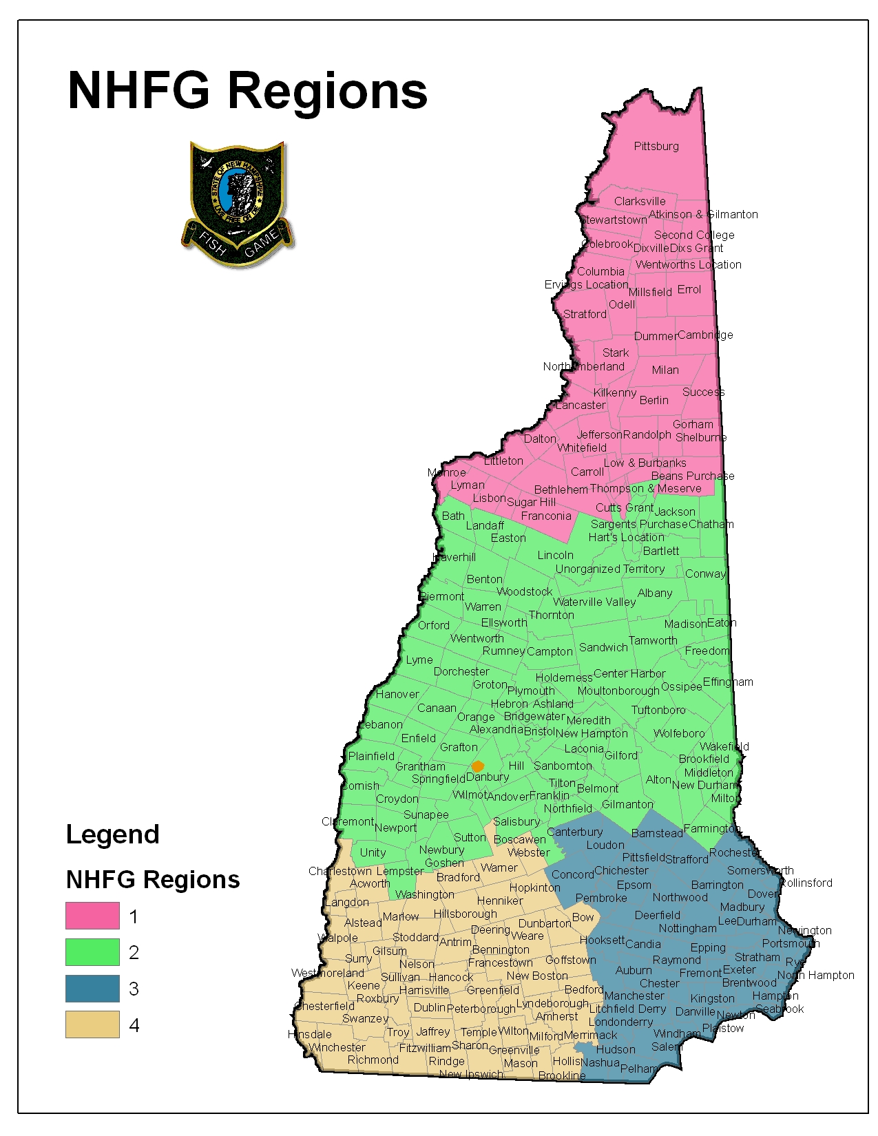 New hampshire regions map arkansas map for Ct fish and game