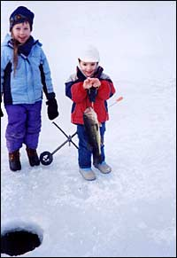 ice fishing children
