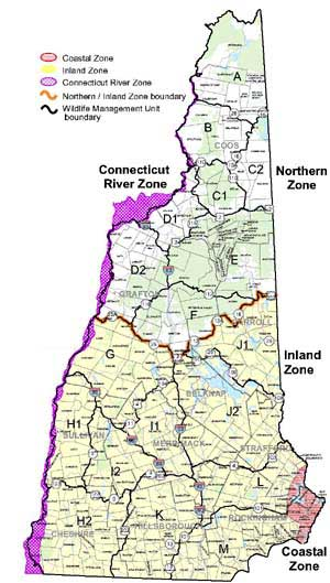 Waterfowl Hunting Zones Hunting New Hampshire Fish And Game - State of new hampshire map