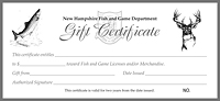 Gift certificates shop fish and game gift certificate for Nh fishing license