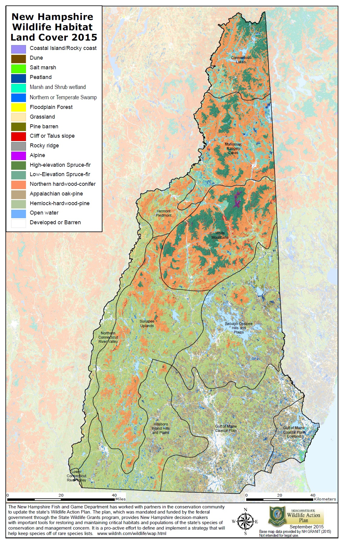 NH Wildlife Action Plan And Habitat Maps Wildlife New - New hampshire map usa